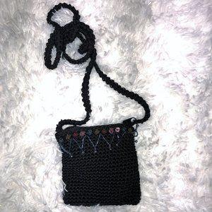 Chateau Small Black Crocheted Purse